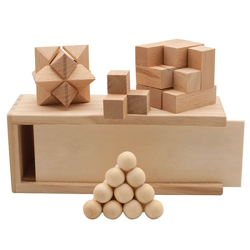 3-in-1 Wooden Puzzle Boxed Set
