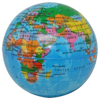 Printed Globe PU Ball 3""
